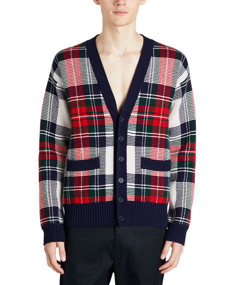 Burberry Cashmere/Wool Tartan Check Jacquard Cardigan