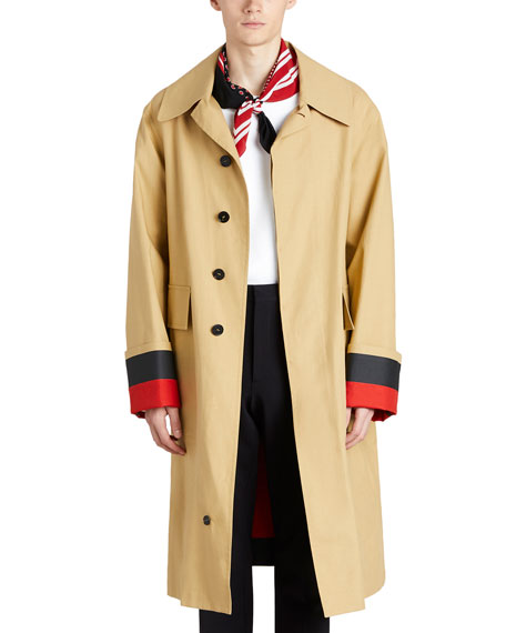 Burberry Bonded Poplin Single-Breasted Car Coat