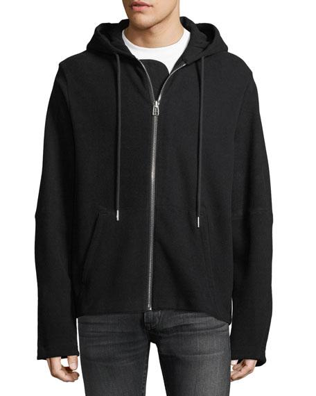 Rib-Knit Zip-Front Hoodie