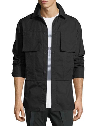 Shirting-Trim Button-Front Jacket