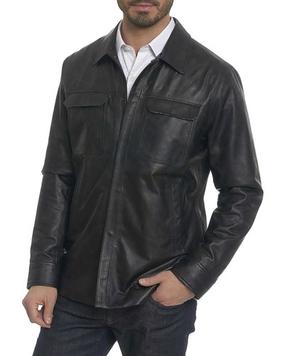 Colden Camo Leather Shirt Jacket
