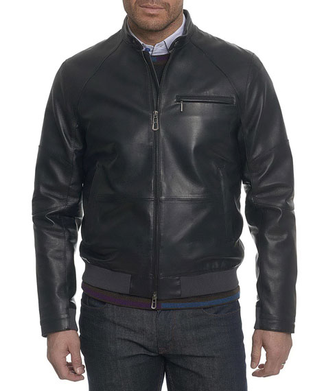 Robert Graham Massena Leather Bomber Jacket