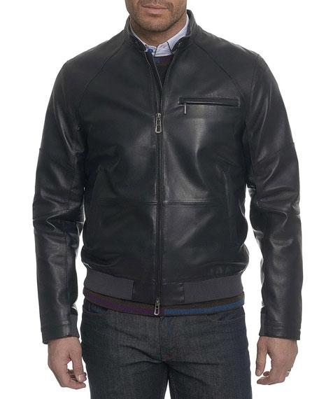 Robert Graham Massena Leather Bomber Jacket