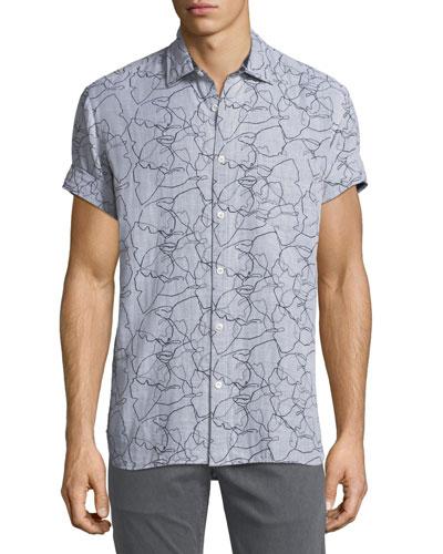 John T Scribble-Print Sport Shirt