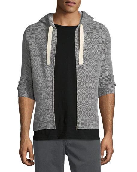 Billy Reid Herringbone-Knit Zip-Front Hoodie