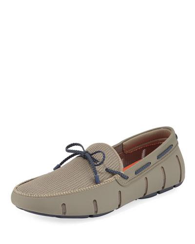 Mesh & Rubber Braided-Lace Boat Shoe, Khaki/Navy