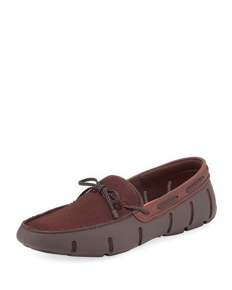 Mesh & Rubber Braided-Lace Boat Shoe, Brown/Clay