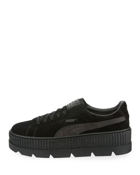 Low-Top Suede Cleated Creeper Sneaker, Black
