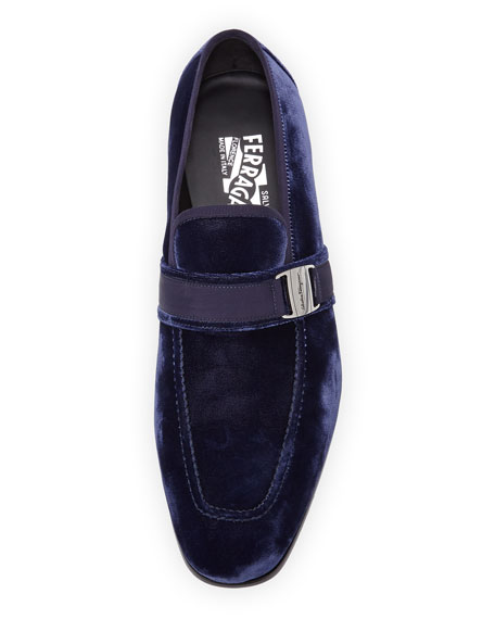 Men's Velvet Formal Loafer, Navy