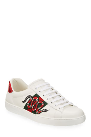 Gucci New Ace Men's Snake Sneakers, White