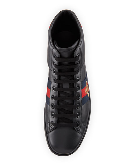 New Ace High-Top Leather Bee Sneaker