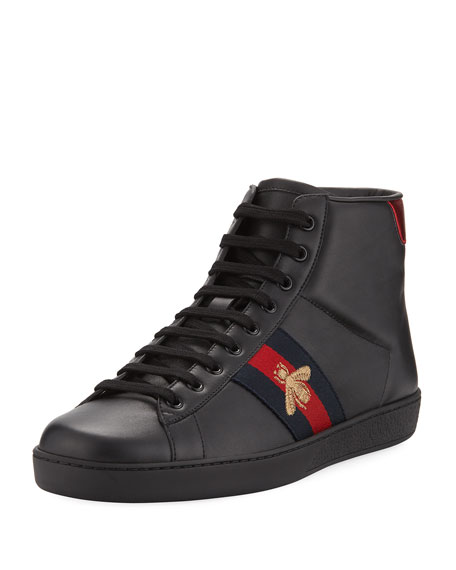 Gucci New Ace High-Top Leather Bee Sneaker