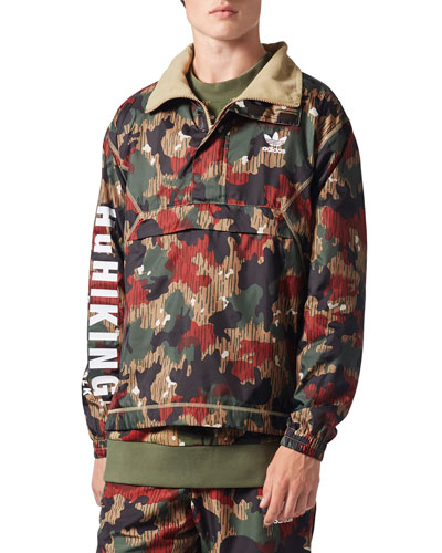 Camouflage-Print Wind-Resistant Pullover Jacket