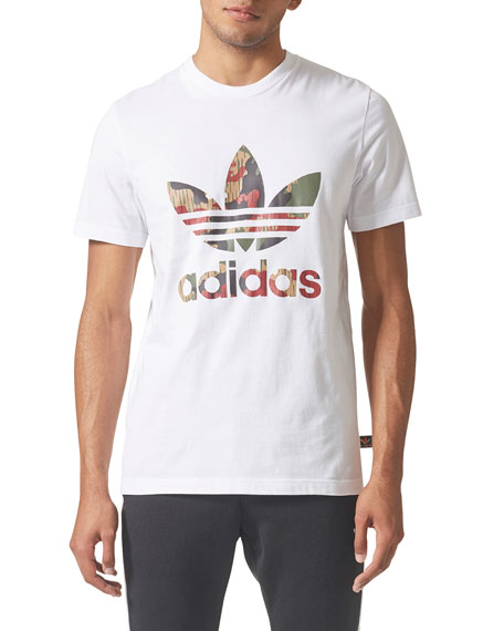 Adidas Camouflage-Print Trefoil-Graphic T-Shirt