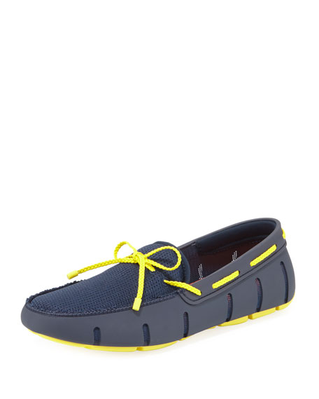 Swims Mesh & Rubber Braided-Lace Boat Shoe, Navy/Yellow