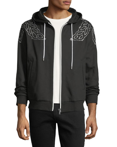 Laurel-Embroidered Zip-Front Hoodie