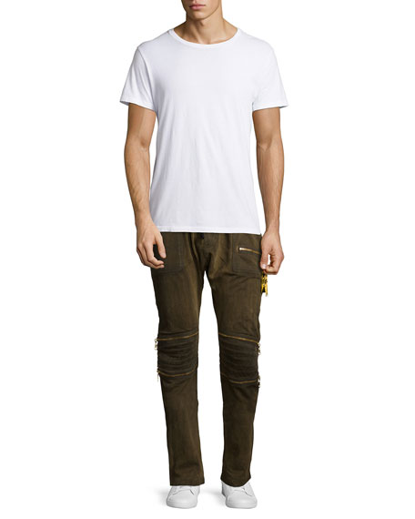 Motard Gold-Coated Jogger Jeans, Gold