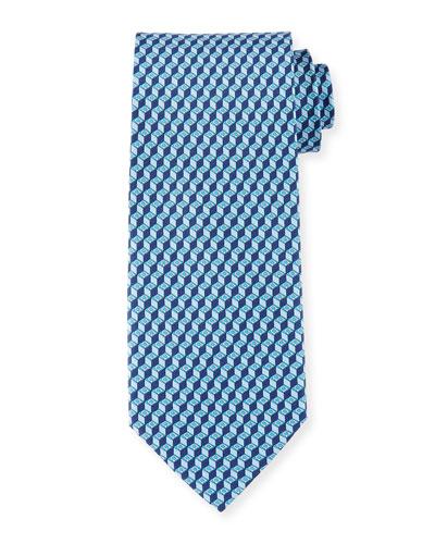 3D Gancini-Print Silk Tie