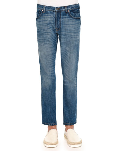 Medium-Wash Jeans with Bleach Detail, Blue