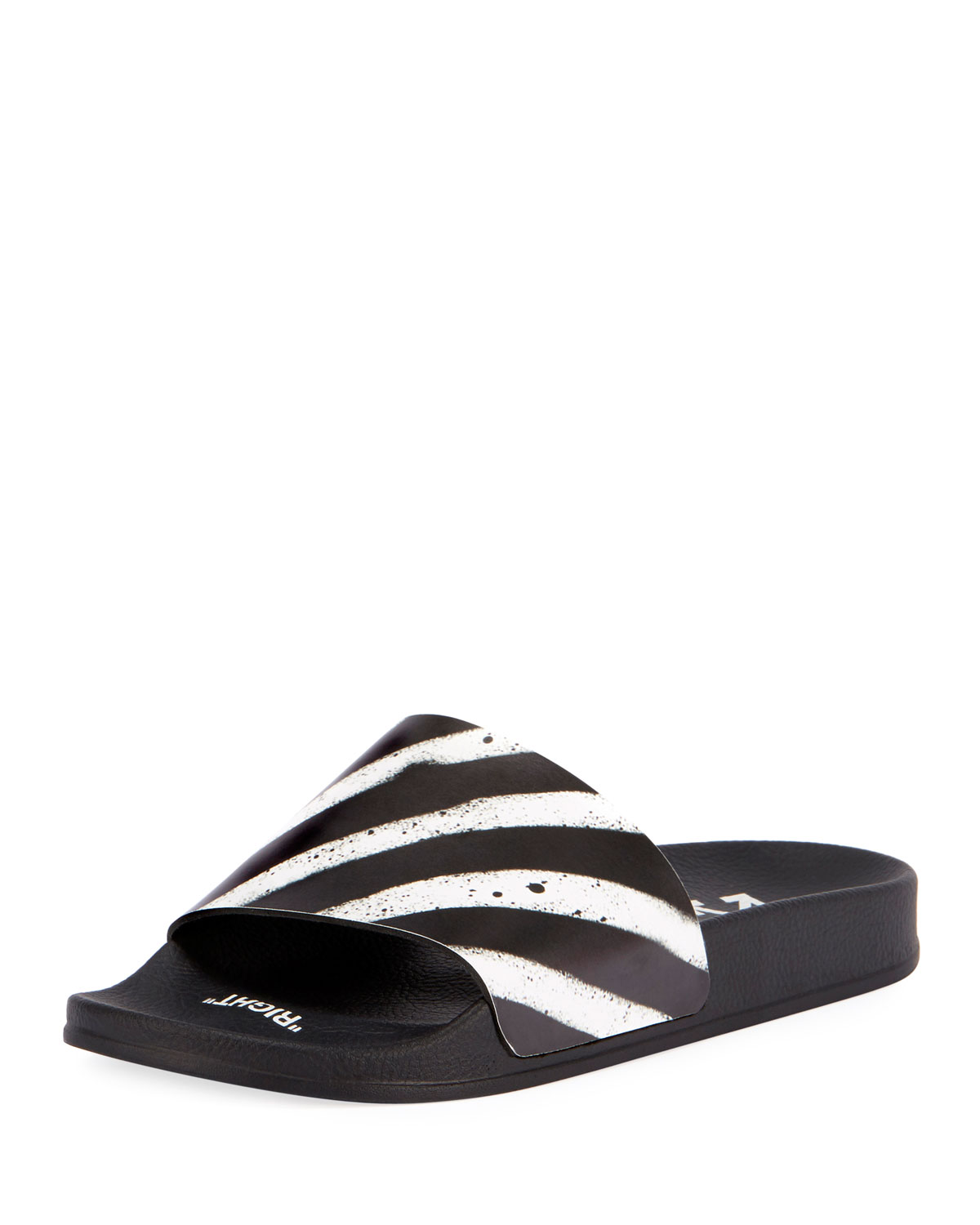 Off-White Spray Striped Slide Sandal | Neiman Marcus