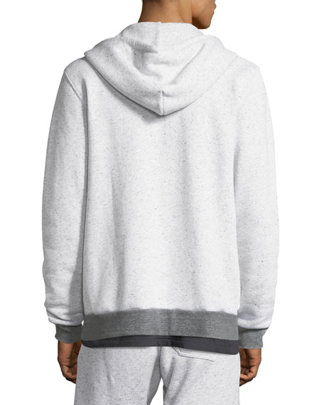 Contrast-Trim Peppered Hoodie