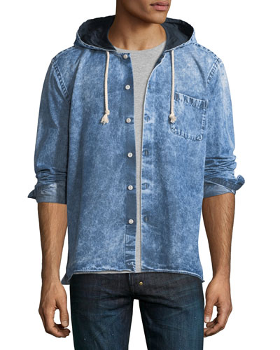 Button-Up Denim Hoodie