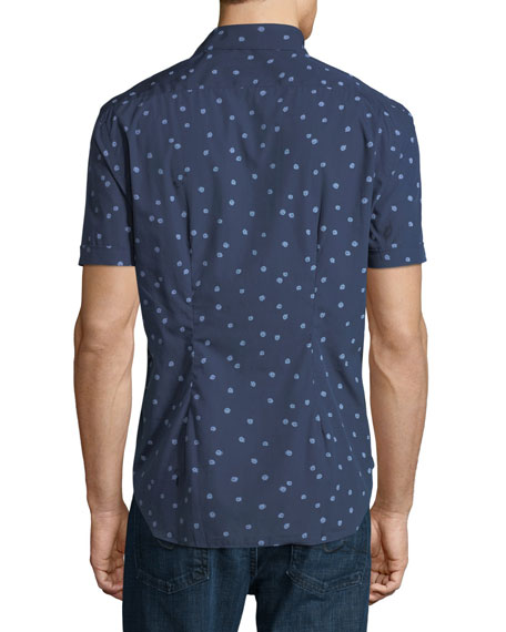 Abstract-Print Short-Sleeve Sport Shirt