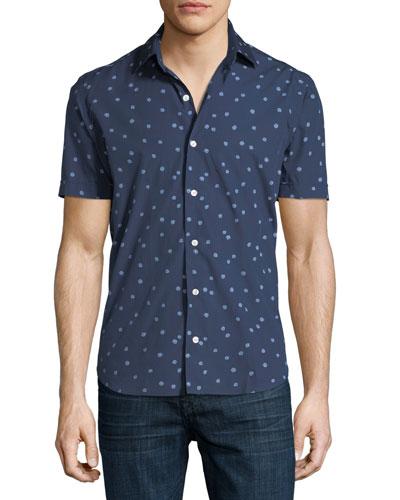 Abstract-Print Short-Sleeve Sport Shirt
