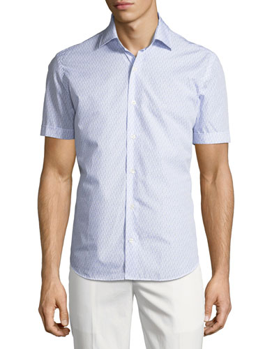 Flamingo-Print Short-Sleeve Sport Shirt