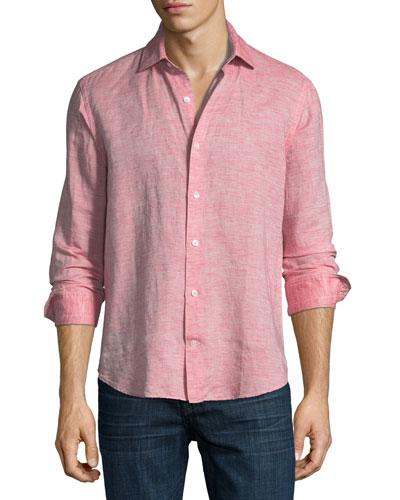 Fray Edge Linen-Blend Sport Shirt