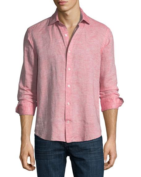 Culturata Fray Edge Linen-Blend Sport Shirt