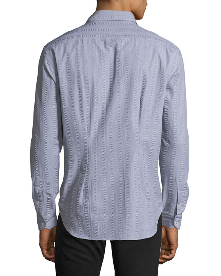 Crinkle-Stripe Cotton Sport Shirt