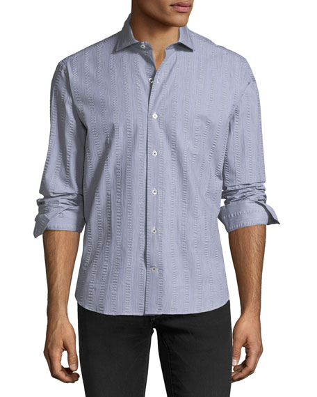 CULTURATA CRINKLE-STRIPE COTTON SPORT SHIRT