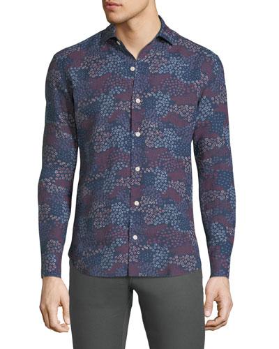 Floral-Print Linen Sport Shirt