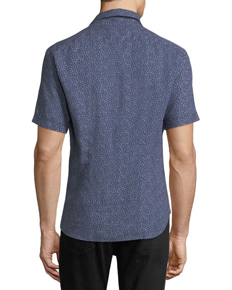 Soft Touch Linen Mini Abstract Short-Sleeve Shirt, Navy