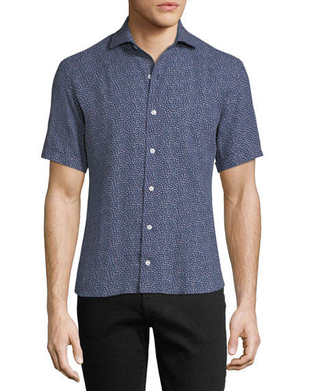 Culturata Soft Touch Linen Mini Abstract Short-Sleeve Shirt,