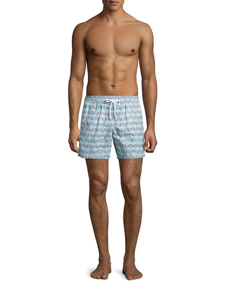 Moorea Micro-Fish Chevron Swim Trunks