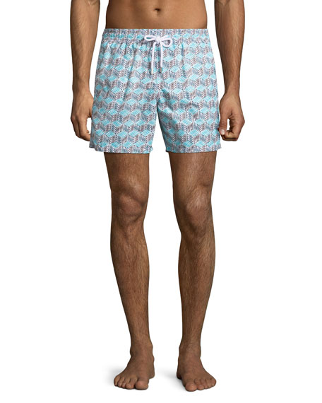 Vilebrequin Moorea Micro-Fish Chevron Swim Trunks