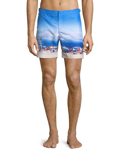 Bulldog Beach-Printed Swim Trunks, On Guard
