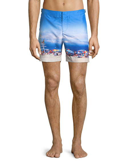 Orlebar Brown Bulldog Beach-Printed Swim Trunks, On Guard