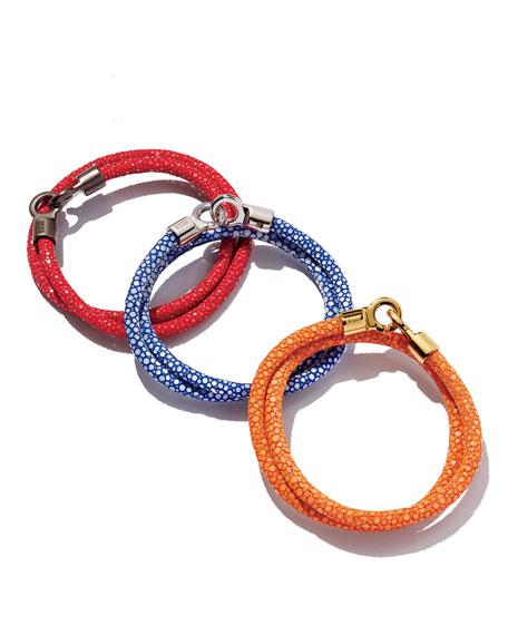 Men's Stingray Wrap Bracelet, Red/Gunmetal