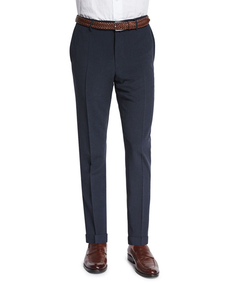 Incotex Standard-Fit Striped Seersucker Trousers, Navy