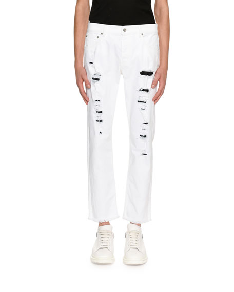 Distressed Straight Jeans with Contrast Backing, White/Black
