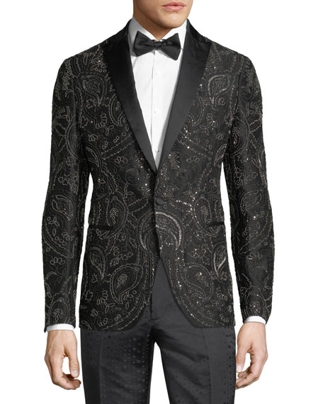 Beaded Satin-Trim Evening Jacket