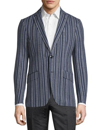 Striped Wool-Blend Sport Coat