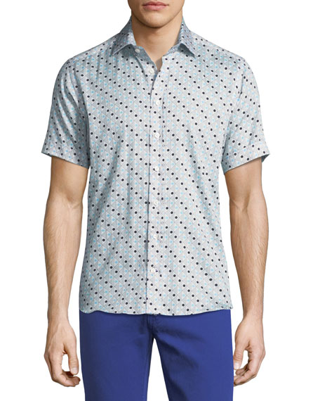Etro Geometric-Print Short-Sleeve Cotton Shirt