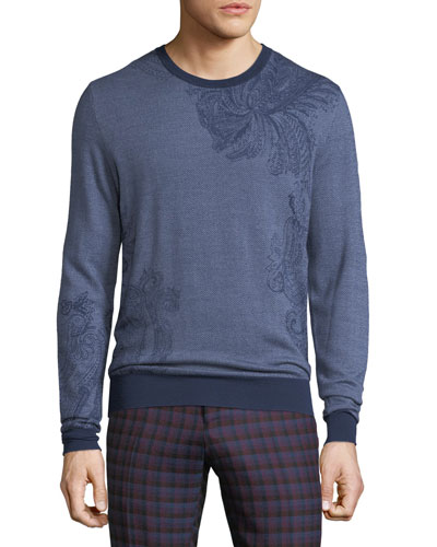 Paisley-Stamped Wool Sweater