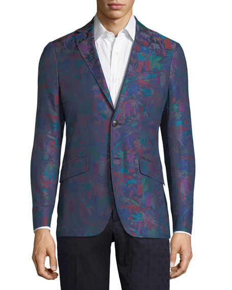 Floral-Print Cotton Sport Coat