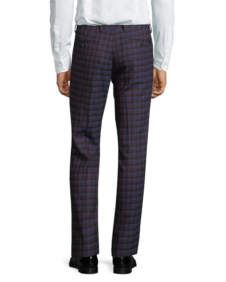 Slim Check Wool Pants