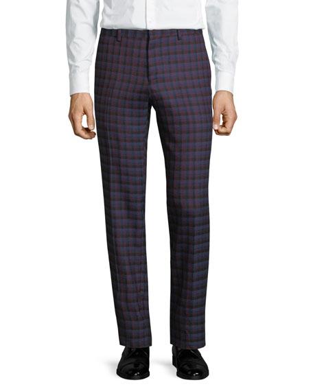 Slim Check Wool Pants